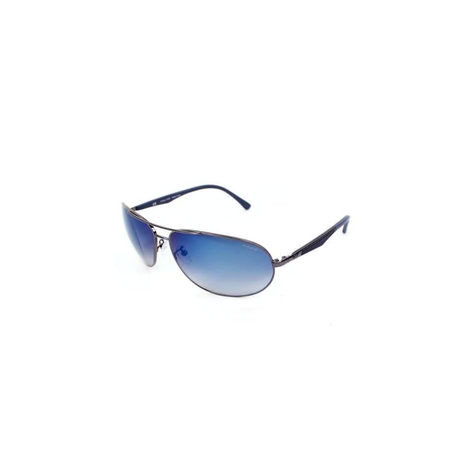Police Sunglasses S 8757 568X Metal Gun Gradient Grey blue mirror
