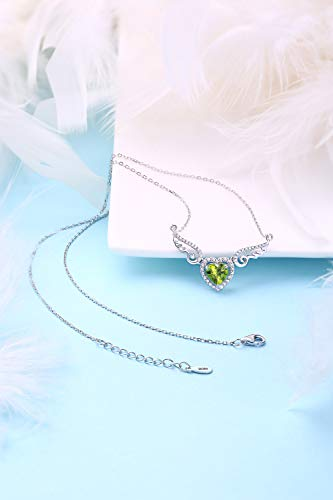 HXZZ Fine Jewelry Women Gifts 925 Sterling Silver Natural Gemstone Peridot Love Heart Angel Wings Pendant Necklace