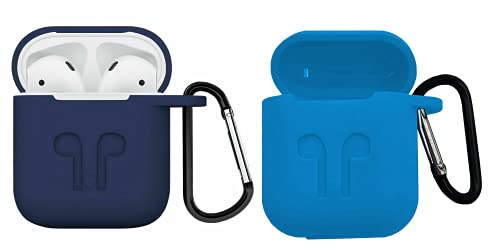 Ionix airpods case, airpods pro Cover case, airpod Carrying case, 1 & 2 Wireless Headset Earphone, Silicon Soft Shock Proof Protective AirPods Case+Keychain, Earphone case (Light Blue + Dark Blue)