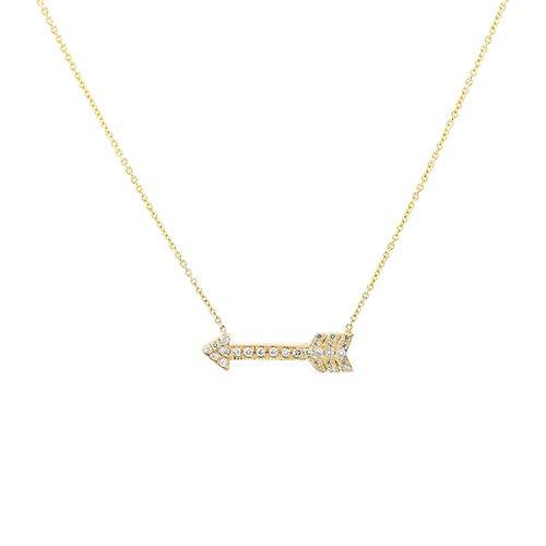 TousiAttar Arrow Necklace - White Diamond 14k or 18K Yellow White Rose Gold Pendant - Nice Necklaces for women