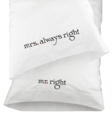 (Hortense B. Hewitt Wedding Accessories Mr. and Mrs. Right Pillowcases, Set of)
