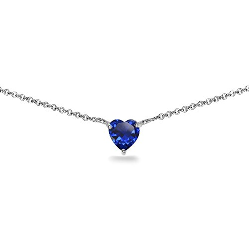 Sterling Silver Created Blue Sapphire 7x7mm Heart Shaped Dainty Choker Necklace