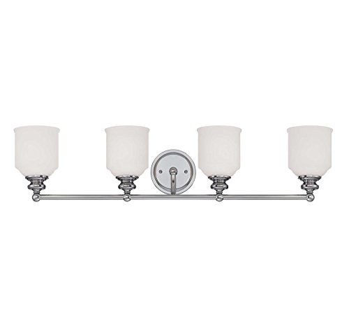 Savoy House 8-6836-4-11 Bath with White Opal Etched Shades, Polished Chrome Finish - Chrome Finish 10 Light