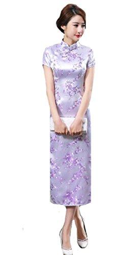 Cinese Di Stampa Vestito donne Cheongsam Business Coolred Sexy Epoca Maxi Viola xF5Cw85Eq