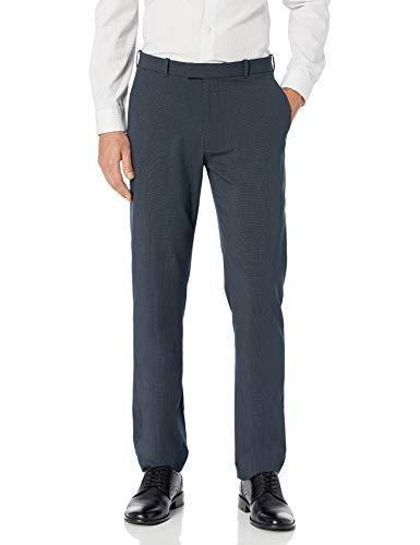 Haggar Men's Premium No Iron Classic Fit Expandable Waist Plain Front Pant, Charcoal Heather, 36Wx32L