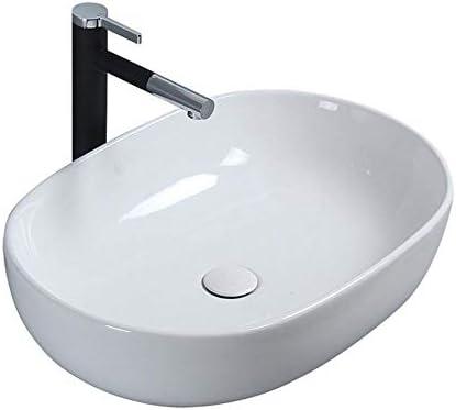 浴室台上盆 洗面化粧台ボウルのために内閣洗面所の洗面化粧台モダン オーバルホワイトの上カウンター 和風 洋風 (Color : White, Size : 49x35x14cm)