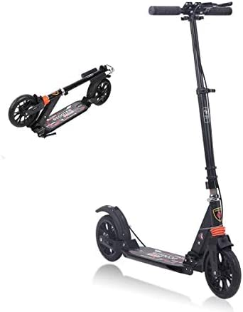 MONODEAL Adjustable Kick Scooter for Adults Teens, 2 Big Wheels with Aluminum Alloy Commuter Scooter for Kids 8 Years and up, Foldable Scooter with Dual Suspension Rear Fender Brake