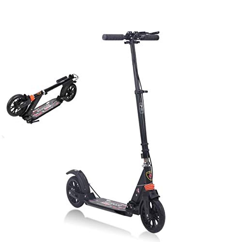 Alloy Dual Suspension - MONODEAL Adjustable Kick Scooter for Adults Teens, 2 Big Wheels with Aluminum Alloy Commuter Scooter for Kids 8 Years and up, Foldable Scooter with Dual Suspension / Rear Fender Brake