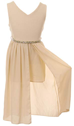 BluNight Collection Big Girls Sleeveless Rhinestones Chiffon Romper Jumpsuit Maxi Dress Champagne 14 (2J1K69S) (Kid Collection Girls Dress)