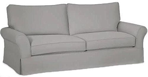 The Cotton Sofa Cover Only Fits Pottery Barn PB Comfort Grand Roll Arm Sofa. A Durable Sofa Slipcover Replacement (L Gray Knife Edge) (Pb Pottery Barn)
