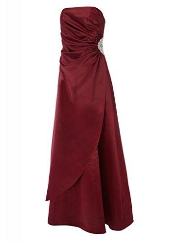 Satin Einfache mit der traegerlose GEORGE Abendkleid tief Wein Applikationen Taille Perlen Brautjungfernkleid BRIDE auf qwY5qxnEt