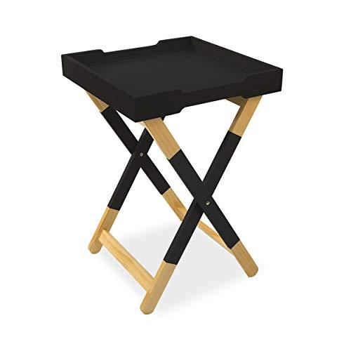 urb SPACE DAR Living Wood Tray Side Table, Black