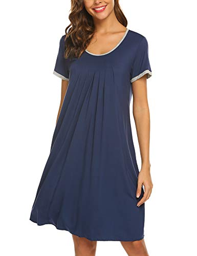 Ekouaer Nightdress Womens Cotton Sleepwear Short Nightgowns Knit Sleepshirts Navy Blue M (Nightgown)