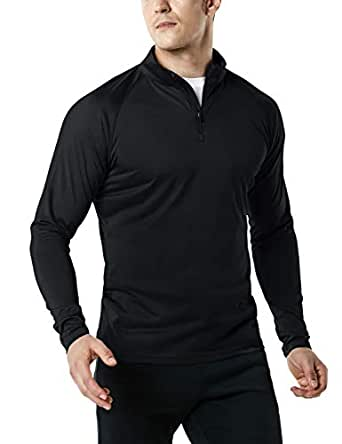 Tesla Men's 1/4 Zip HyperDri Cool Dry Active Sporty Shirt Top MKZ03-BLK