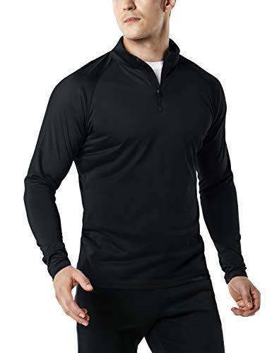 TSLA Men's 1/4 Zip HyperDri Cool Dry Active Sporty Shirt Top, Hyper Dri(mkz03) - Black, X-Large