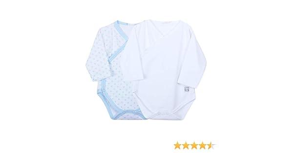 Petit Oh! - Pack de 2 Bodies Cruzados bebé algodón Pima, Talla 3-6 Meses (Blanco + Topo Celeste): Amazon.es: Ropa y accesorios