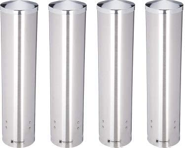 Fits 4-1//2oz to 7oz Cone and 6oz to 12oz Flat Cup Size 2-3//4 to 3-3//8 Rim 16 Tube Length San Jamar C3250 Stainless Steel Large Pull Type Water Cup Dispenser