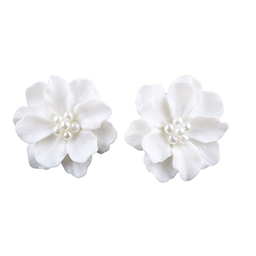 soAR9opeoF Elegant Resin Flowers Earrings, Faux Pearls Women Earrings Ear Studs Dating Party Jewelry for Birthday Anniversary Valentines Day Wedding Cocktail Party Banquet Club White