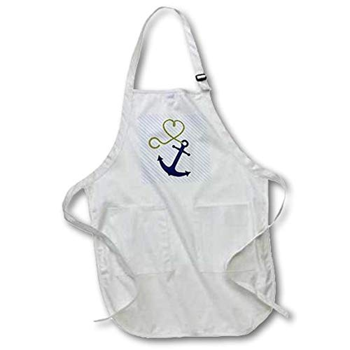 3dRose apr/_165815/_1 Cute Anchor and Heart Rope Blue Full Length Apron with Pockets 22 by 30 White