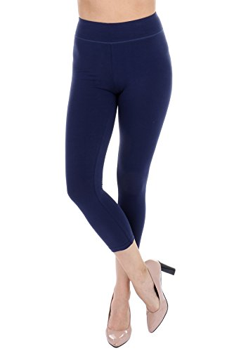 Cotton Spandex Angel Soft High Waist Yoga Leggings for women - Cropped Capri (Navy, Small)