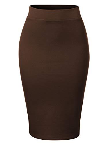 Skirt Americana - MixMatchy Women's Waist Band Midi Stretchy Ponte Basic Knee Pencil Skirt Americano S