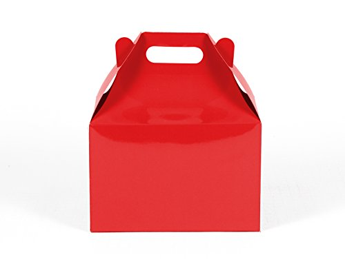 12CT (1 Dozen) Large Biodegradable Kraft / Craft Favor Treat Gable Boxes (Large, Red )