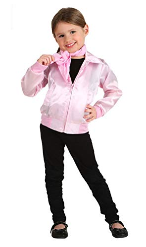 Toddler Girls 1950s Pink Ladies Costume, Retro Infant Halloween Danny Cosplay Jacket (Tag Size-18 Months)