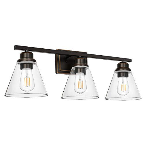 3-Light Bathroom Light, Led Edison Bulbs Included, Oil Rubbed Bronze Vanity Light Fixtures, Bathroom Wall Sconce…