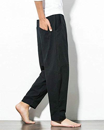 Cordon Sarouel En Pantalon Confortable Élastique Coton Vrac Noir Réglable Serrage Hommes Printemps Base De À Targogo La Taille Ed7YAqn7