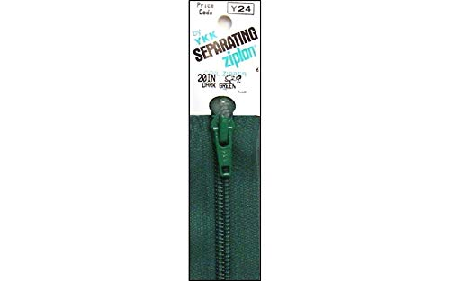 "YKK Ziplon 1-Way Separating Zipper, 20"", Dark Green"