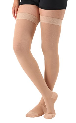 Absolute Support Thigh High Compression Stockings Silicone Border, Beige – 3XL