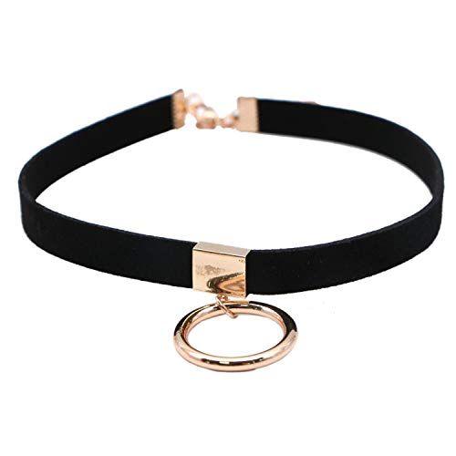 JETEHO Black Velvet Choker with Circular Ring Pendant, Sexy Tattoo Wrap Choker, Gothic Leather O-Ring Collar for Girls Women, Necklace Length Adjustable
