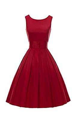 ACEVOG Women's Vintage Audrey Hepburn 50's Inspired Rockabilly Swing Cocktail Dress