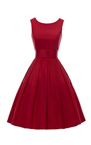 ACEVOG Womens Vintage Audrey Hepburn 50s Inspired Rockabilly Swing Cocktail Dress