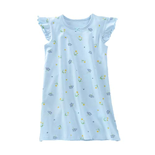 Girls' Floral Nightgowns Flowers Sleep Shirts Cotton Loungewear Blue Flutter Sleeve 7 8