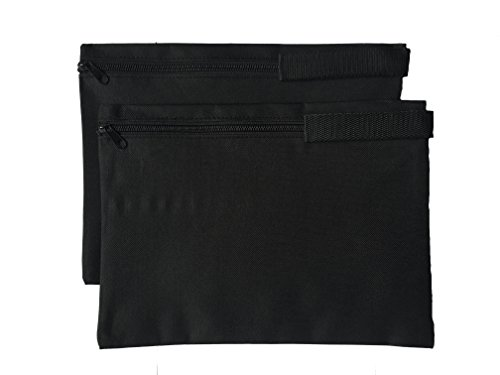ImpecGear Document Bags, Safe Accessories Bag, Poly Cloth Value Pack of 2, (12.5'' x 9.5'') (Black) by ImpecGear