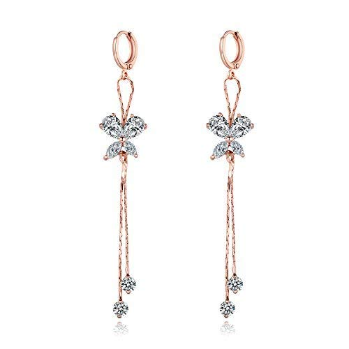 MASOP White Rhinestones Rose Gold Color Earrings Dangle Drop Fashion - Dangling Rose White