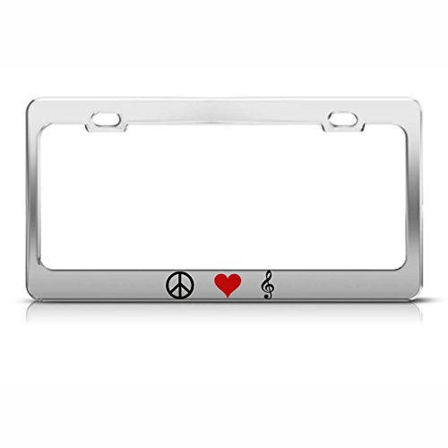 Speedy Pros Peace Love Music Metal Heavy Duty Chrome License Plate Frame Tag Holder (Peace Note)