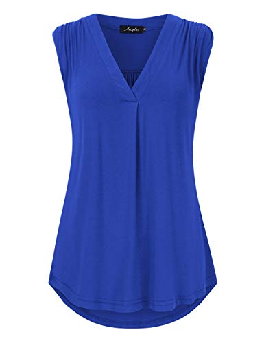 AMZ PLUS Women's Casual Plus Size V Neck Sleeveless Loose Fit Pullover Blouse Top Blue ()