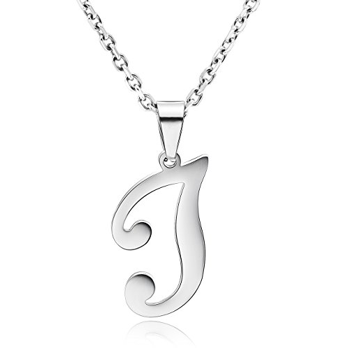 (MOWOM Stainless Steel Silver Tone Pendant Necklace Initial Letter Capital Alphabet J)