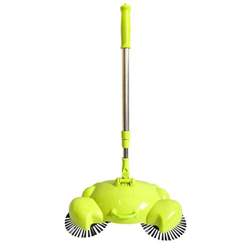 mntech-new-arrival-360-rotary-home-use-crab-manual-telescopic-floor-dust-sweeper-green
