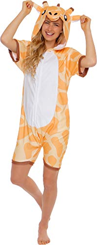 Silver Lilly Giraffe Short Sleeve Animal Pajamas - Plush Adult One Piece Summer Cosplay Costume (Large) Brown -
