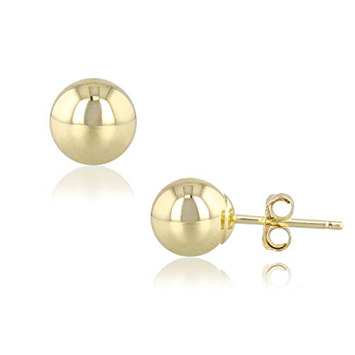 R&R 14k Yellow Gold Ball Earrings with Push Backs (Yellow Gold, 7.0mm) ()