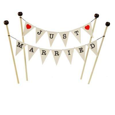 amazing buntings,Just Married,Hochzeitstorte Topper mit 4 Stäbchen mit Holzperlen,Kuchen Topper in Qualitätskarte in Cremefar