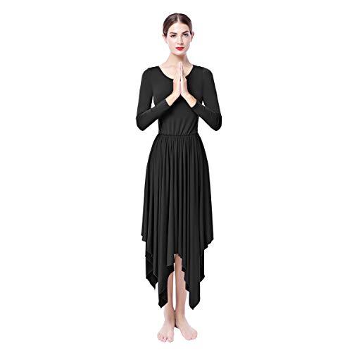 OBEEII Women Praise Dance Dress Lyrical Loose Fit Elegant Long Sleeve Irregular Hem Liturgical Dancewear Worship Costume Black L