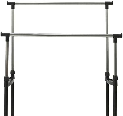 Oypla Double Clothes Rail Portable Hanging Garment Storage With Shoe Rack Shelf