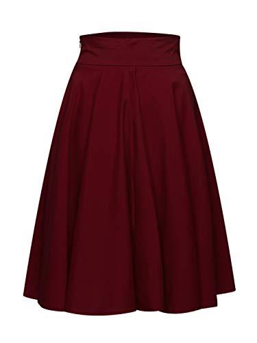 Women's Burgundy Casual Fashion Plain High Waist Midi Skater Skirt XL ()