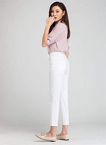 Moda A Vita Bianca Dei Colore Alta Di Eleganti Matita Pantaloni Giovane Della Casuali Tagliati Solido Estate Alla Coreana Convenzionali Hwx0qZn6BR