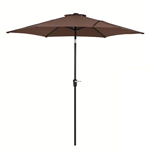 Grand patio 9FT Aluminum Patio Umbrella, UV Protective Beach Umbrella with Push Button Tilt and Crank, Powder Coated Outdoor Umbrella, Coffee