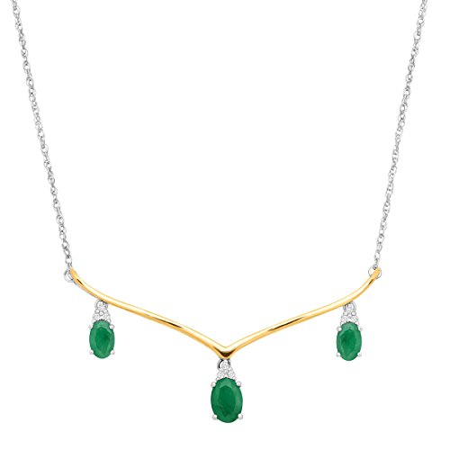 1 3/4 ct Natural Emerald Garland Necklace with Diamonds in Sterling Silver & 14K Gold by Finecraft